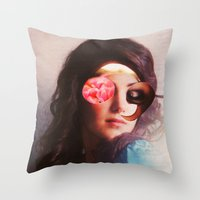 lydia martin Throw Pillows featuring Lydia by Marko Köppe