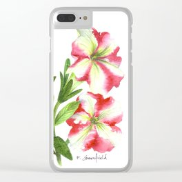Pink and White Petunias Clear iPhone Case