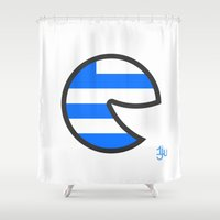 greece Shower Curtains featuring Greece Smile by onejyoo