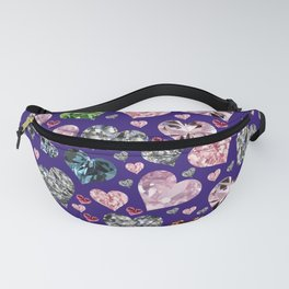 Heart Diamonds are Forever Love Violet Fanny Pack