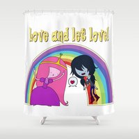 marceline Shower Curtains featuring Love Time by Vânia Rosa