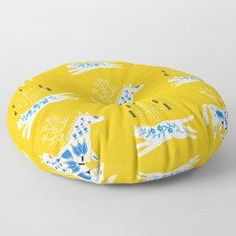 Folk horse on yellow Floor Pillow