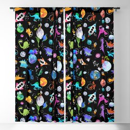 Dinosaur Astronauts In Outer Space Blackout Curtain