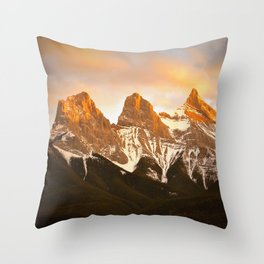 Three Sisters - Golden Peaks Throw Pillow