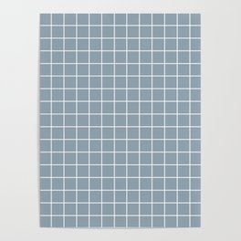 Cadet grey - grey color - White Lines Grid Pattern Poster