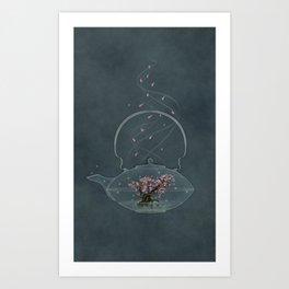 Cherry and Firefly Tea Art Print