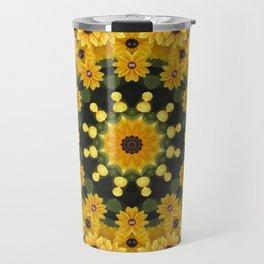 Black-eyed Susans, Nature Flower Mandala, Floral mandala-style Travel Mug