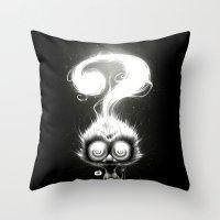 alisa burke Throw Pillows featuring Question! by Dr. Lukas Brezak