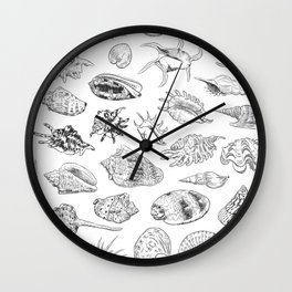 collection of sea shells, black contour on white background Wall Clock