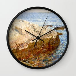 Cliff Rock, Appledore, 1903 - by Childe Hassam Wall Clock