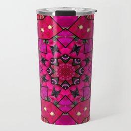 Garden mosaic kaleidoscope mandala - hot pinks Travel Mug