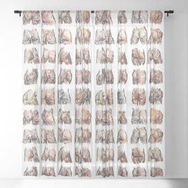 Butts Butts Butts Sheer Curtain