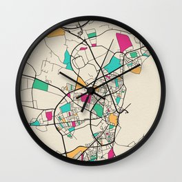 Colorful City Maps: Aarhus, Denmark Wall Clock