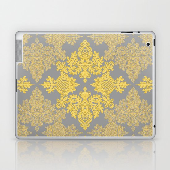 Golden Folk - doodle pattern in yellow & grey Laptop & iPad Skin