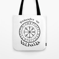 vikings Tote Bags featuring Straight to Valhalla, Vikings by ZsaMo Design