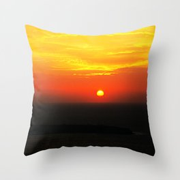 sunset in Oia Throw Pillow