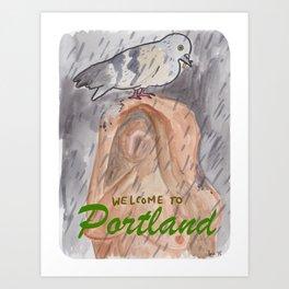 Portland Pigeon - Kvinneakt Welcome Art Print