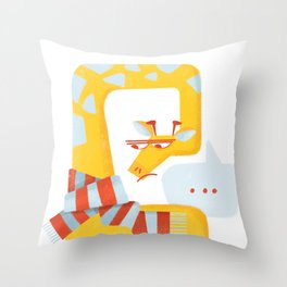 Grumpy Christmas Giraffe Throw Pillow