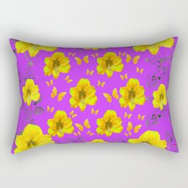 YELLOW AMARYLLIS FLOWERS & BUTTERFLIES PURPLE ART Rectangular Pillow