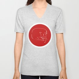 Relaxing Cat in red circle Unisex V-Neck
