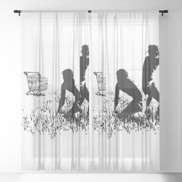 Banksy Trolleys Men Hunting Supermarket Carts Artwork Reproduction for Prints Posters Tshirts Sheer Curtain
