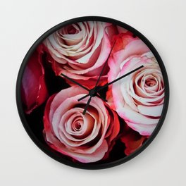 Large Red Roses Wall Clock