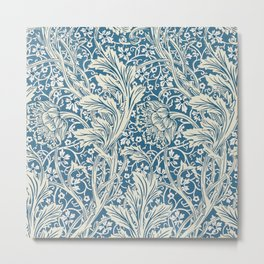 Arcadia Blue and White Floral Pattern, May Morris, 1829 Metal Print