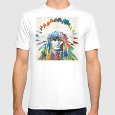 Native American Art - Chief - By Sharon Cummings X-LARGE Mens Fitted Tee White