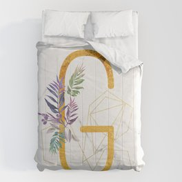 Modern glamorous personalized gold initial letter G, Custom initial name monogram gold alphabet prin Comforters