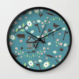 Salted Swine Print Wall Clock