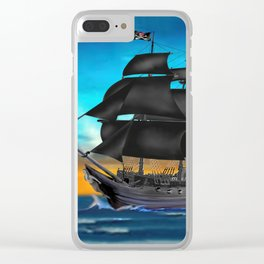 Pirate Ship at Sunset Clear iPhone Case