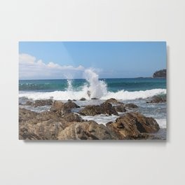 Sea Waves Crashing at Malua Bay Metal Print