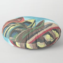 Boats In A Row Floor Pillow