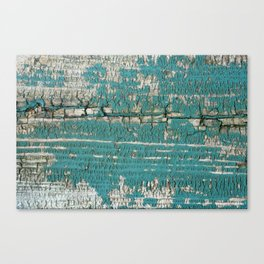 Rustic Wood Turquiose Paint Weathered Canvas Print