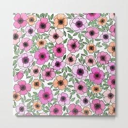 Poppy Pattern Metal Print
