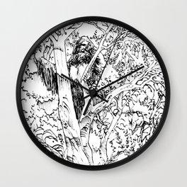 Sasquatch picking apples Wall Clock