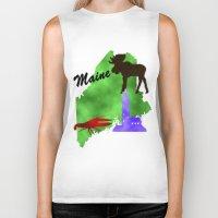 maine Biker Tanks featuring Maine by Nova Jarvis