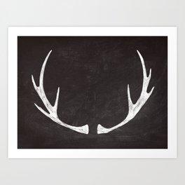 Chalkboard Art - Antlers Art Print