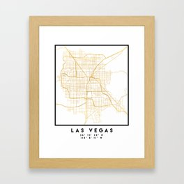 LAS VEGAS NEVADA CITY STREET MAP ART Framed Art Print