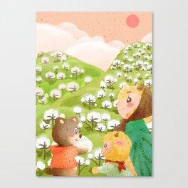 Girl And Cute Bear Canvas Print
