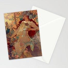 1896 AUTUMN Fall - 4 Seasons Alphonse Mucha Art Nouveau Goddess Vintage Lithograph French AUTOMNE Beauty Nature Art Wall Hanging Decor Print Stationery Cards