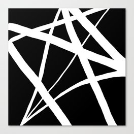 Geometric Line Abstract - Black White Canvas Print