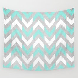 Teal & White Herringbone Chevron on Silver Wood Wall Tapestry