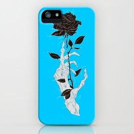 Rosa negra fondo azul celeste mano esqueleto iPhone Case