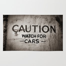 Caution: Watch For Cars Rug