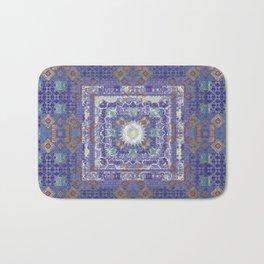 Antiqued Indigo Fractal Boho Quilt Print Bath Mat