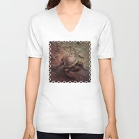 crab V-neck T-shirts featuring Crab Nebula by Distortion Art