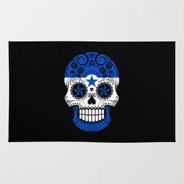 Sugar Skull with Roses and Flag of Honduras Rug
