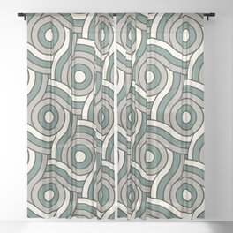 Circle Swirl Pattern Ever Classic Gray 32-24 Thistle Green 22-18 and Dover White 33-6 Sheer Curtain