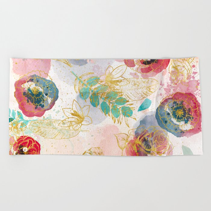 Golden flowers Beach Towel